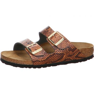 Birkenstock - Pantolette in Snake Brown - Arizona NL Snake Brown