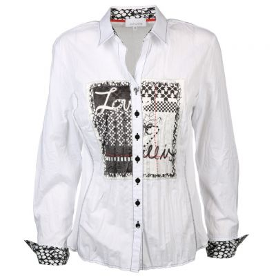 Just White - Bluse in Crash Optik