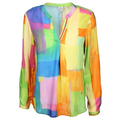 Emily van den Bergh - Bluse mit Color Blocking Print
